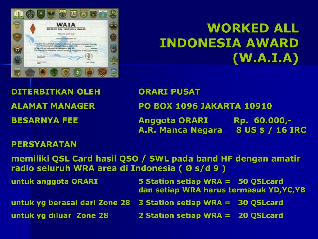 WORKED ALL INDONESIA AWARD (W.A.I.A)