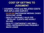 cost of getting to judgment