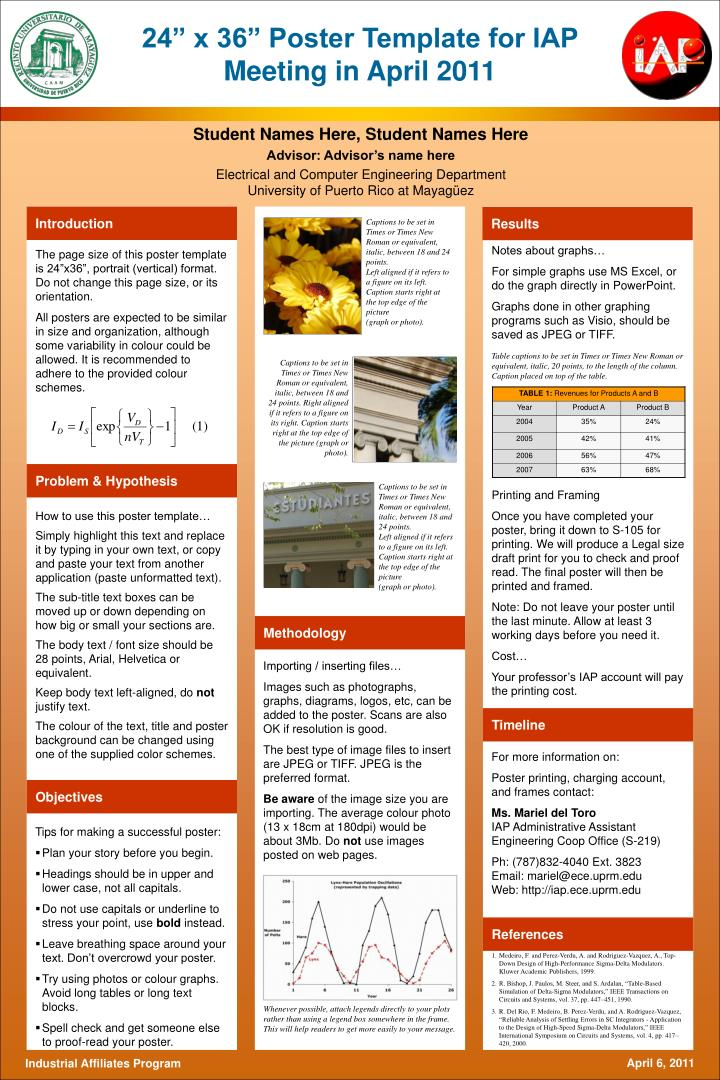 Ppt 24 x 36 poster template for iap meeting in april for Informative poster template