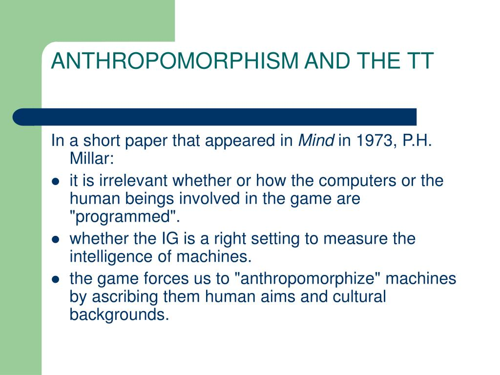 ANTHROPOMORPHISM AND THE TT
