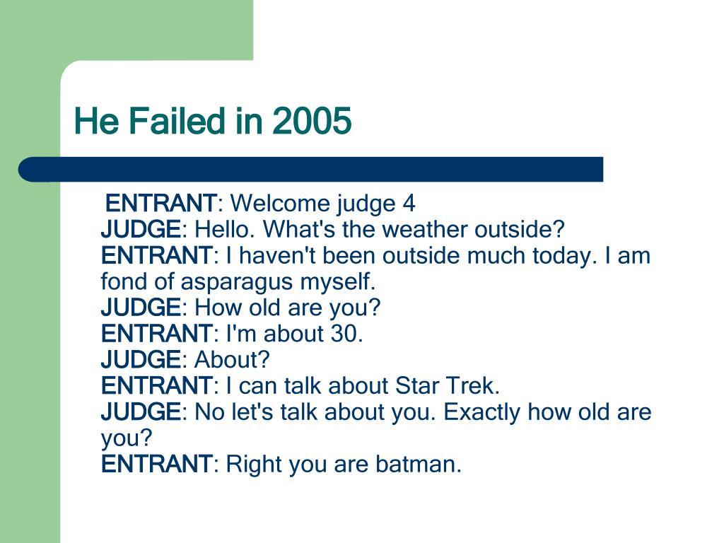 He Failed in 2005