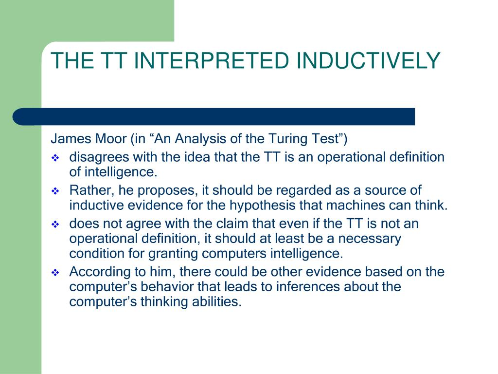 THE TT INTERPRETED INDUCTIVELY