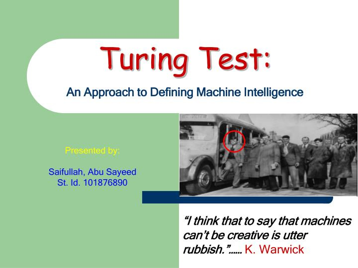 turing test an approach to defining machine intelligence n.