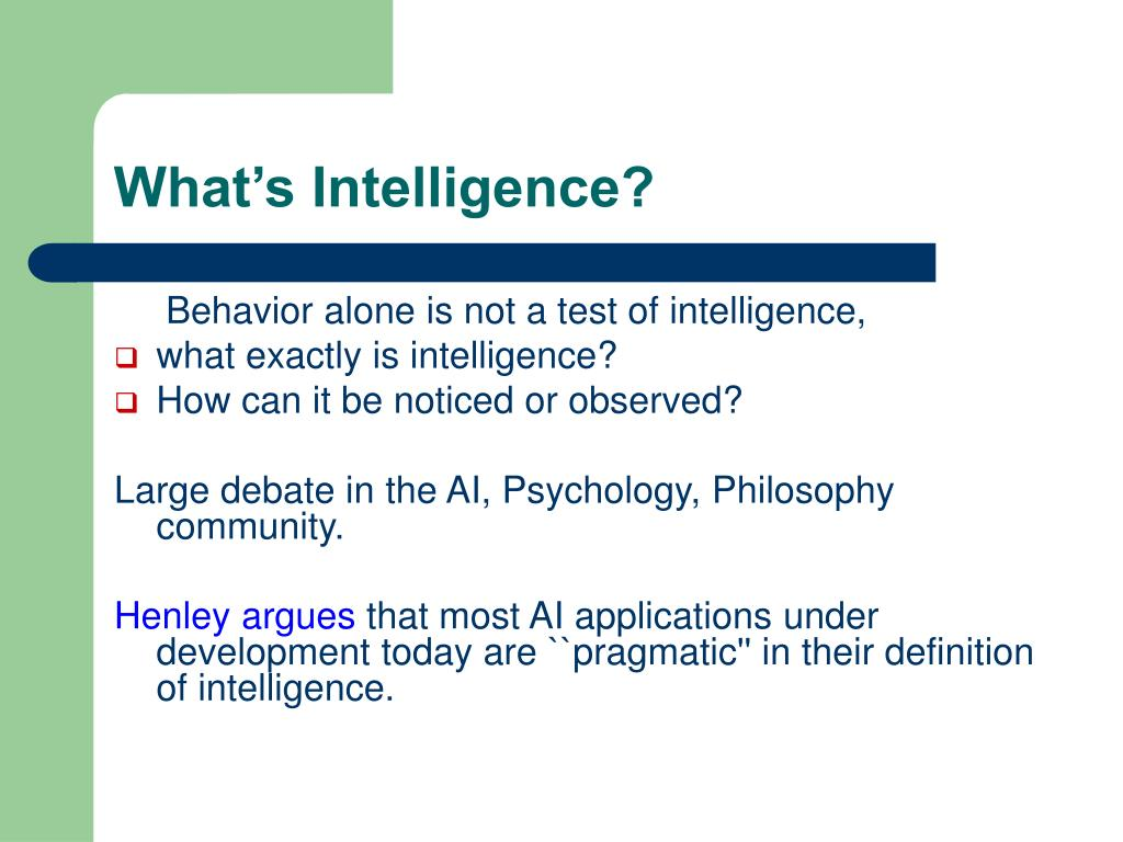 What's Intelligence?