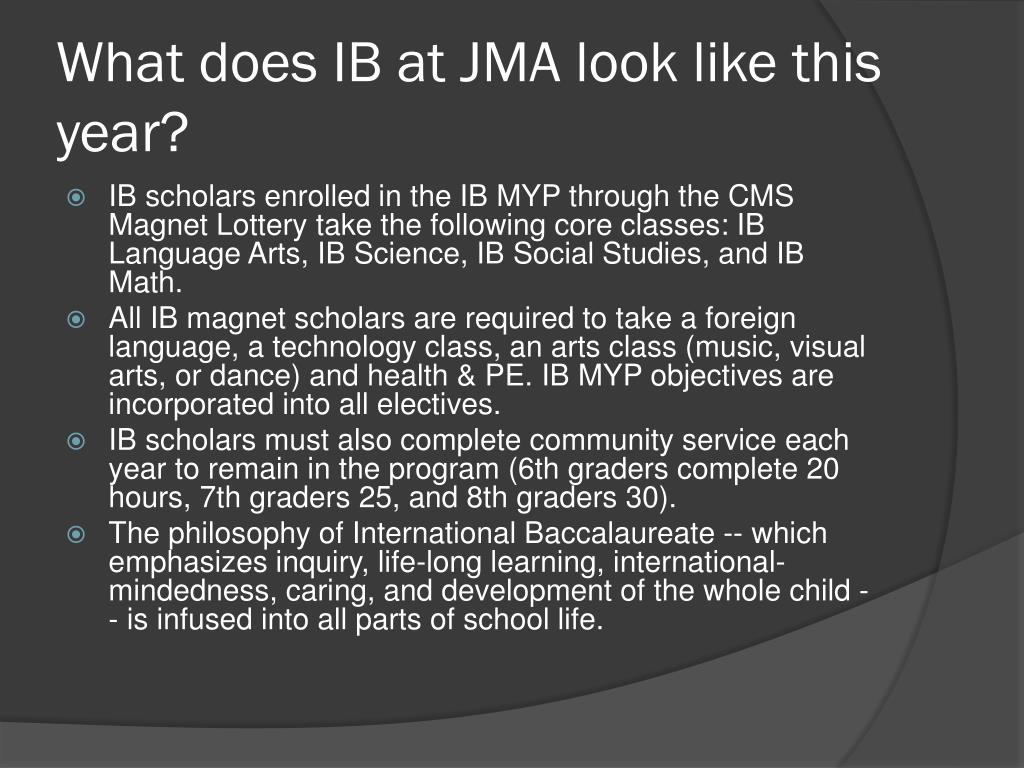 What does IB at JMA look like this year?