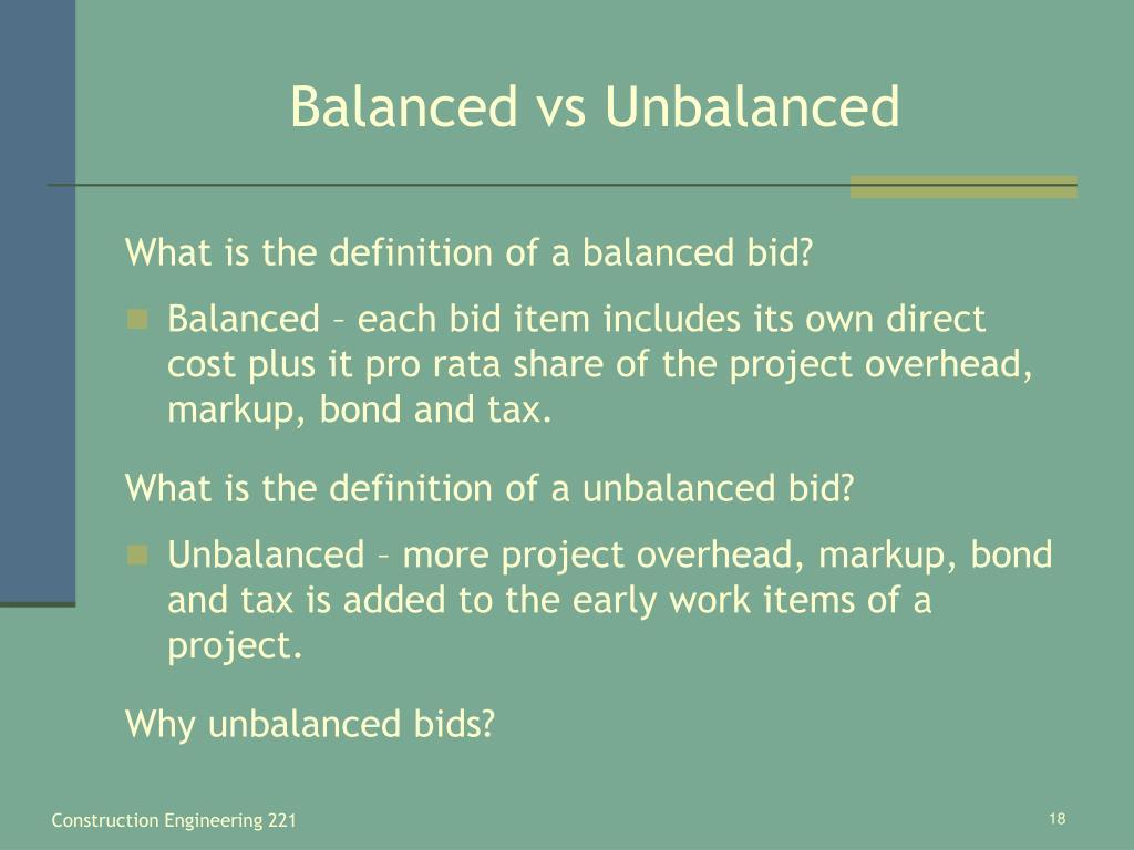 Balanced vs Unbalanced