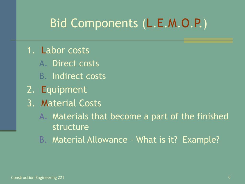 Bid Components (