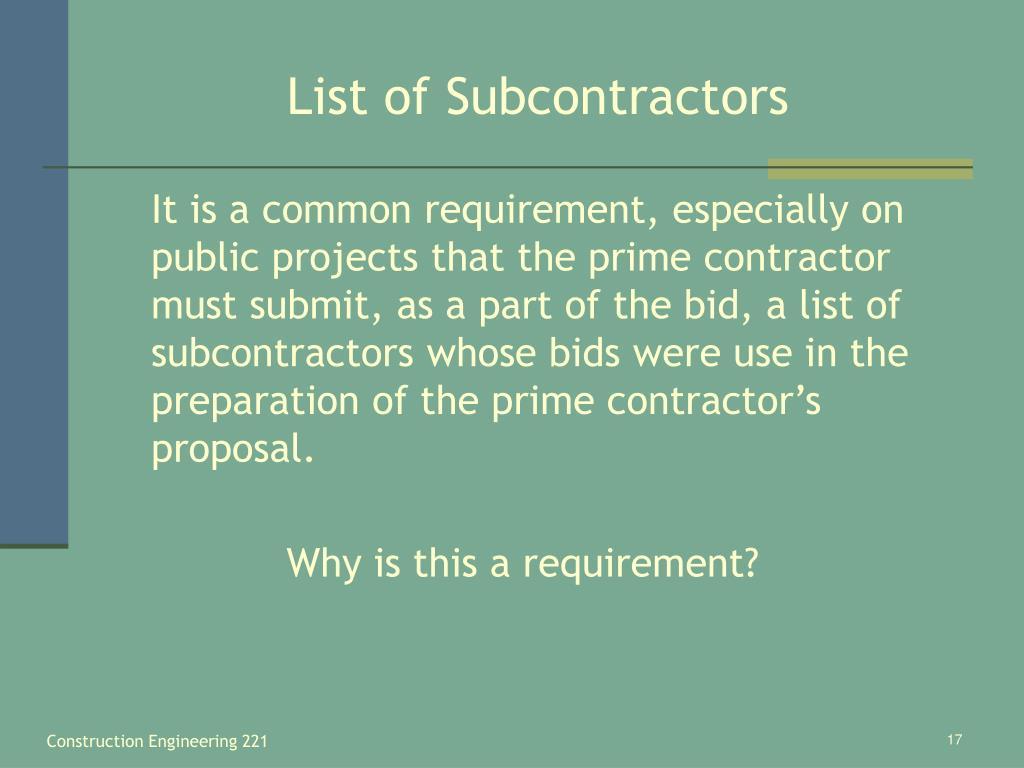 List of Subcontractors