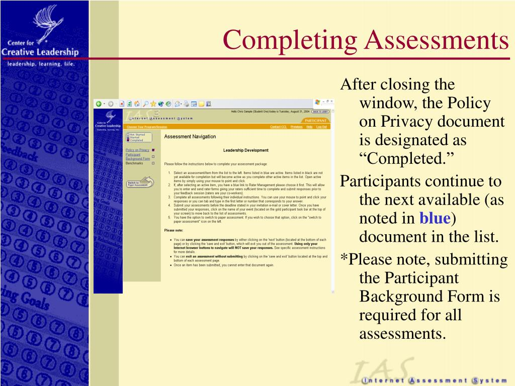 Completing Assessments
