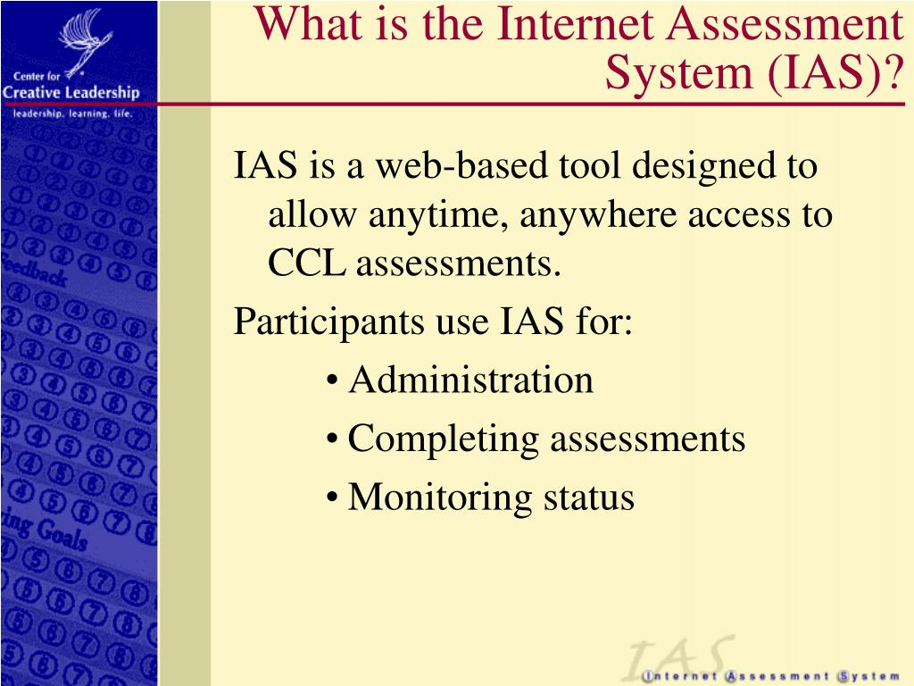 What is the Internet Assessment System (IAS)?