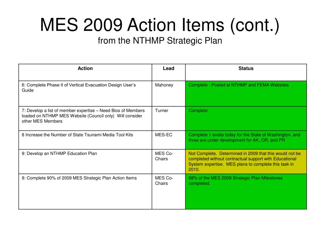MES 2009 Action Items (cont.)