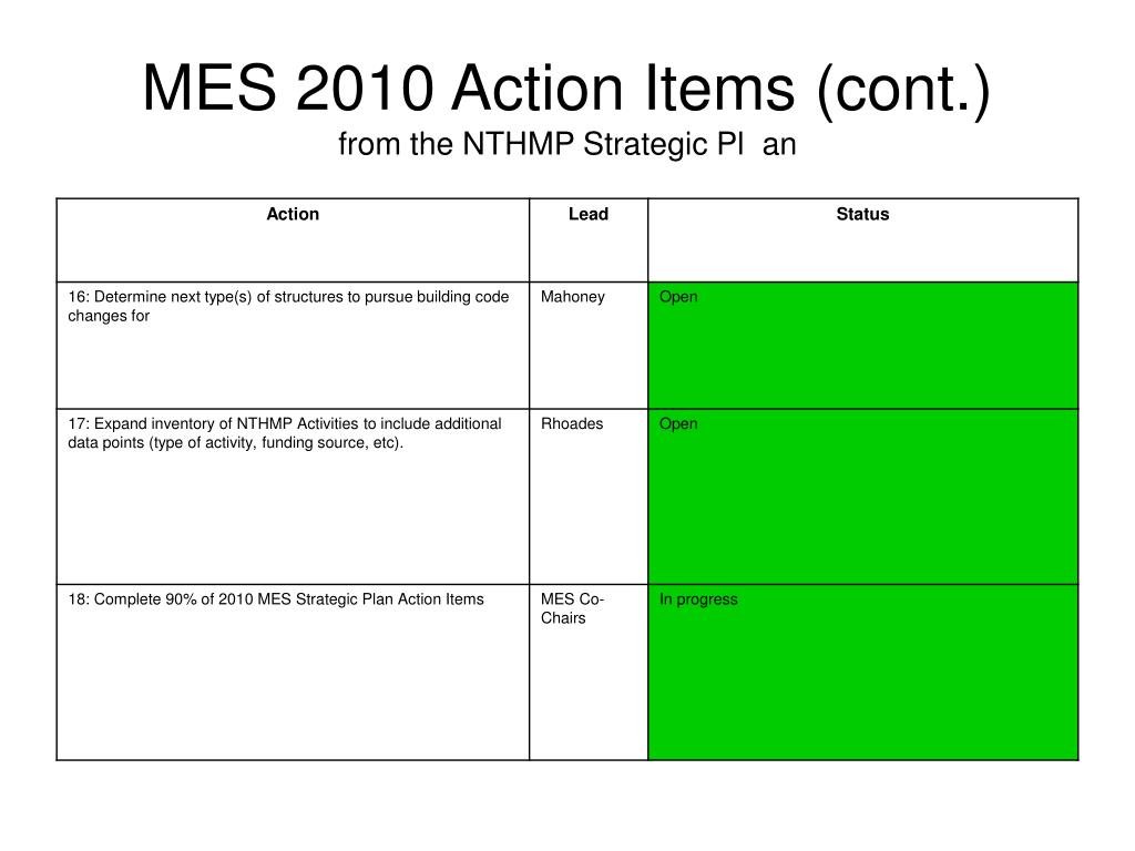 MES 2010 Action Items (cont.)