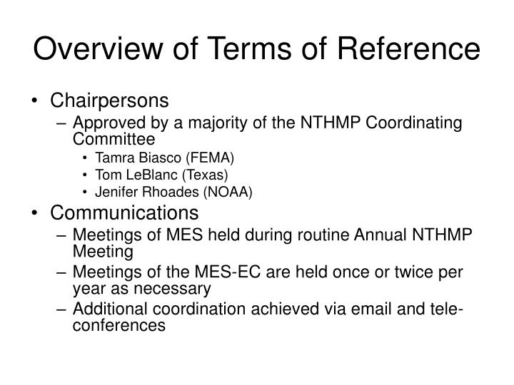 Overview of terms of reference3