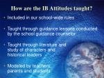 how are the ib attitudes taught