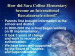 how did sara collins elementary become an international baccalaureate school