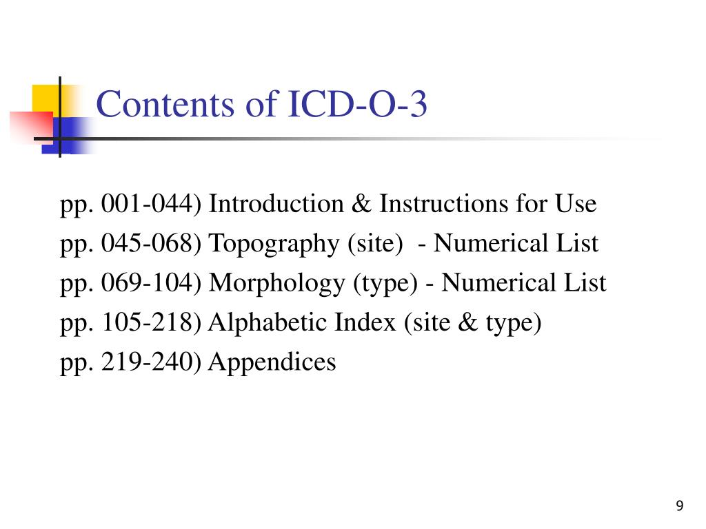 Contents of ICD-O-3