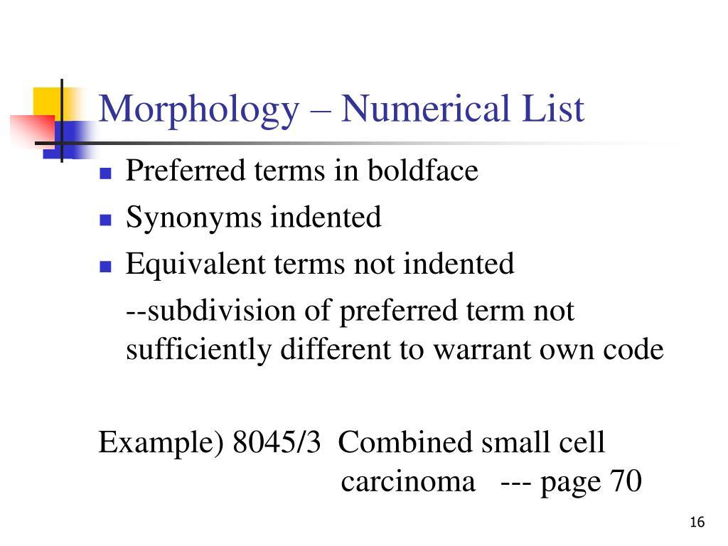 Morphology – Numerical List