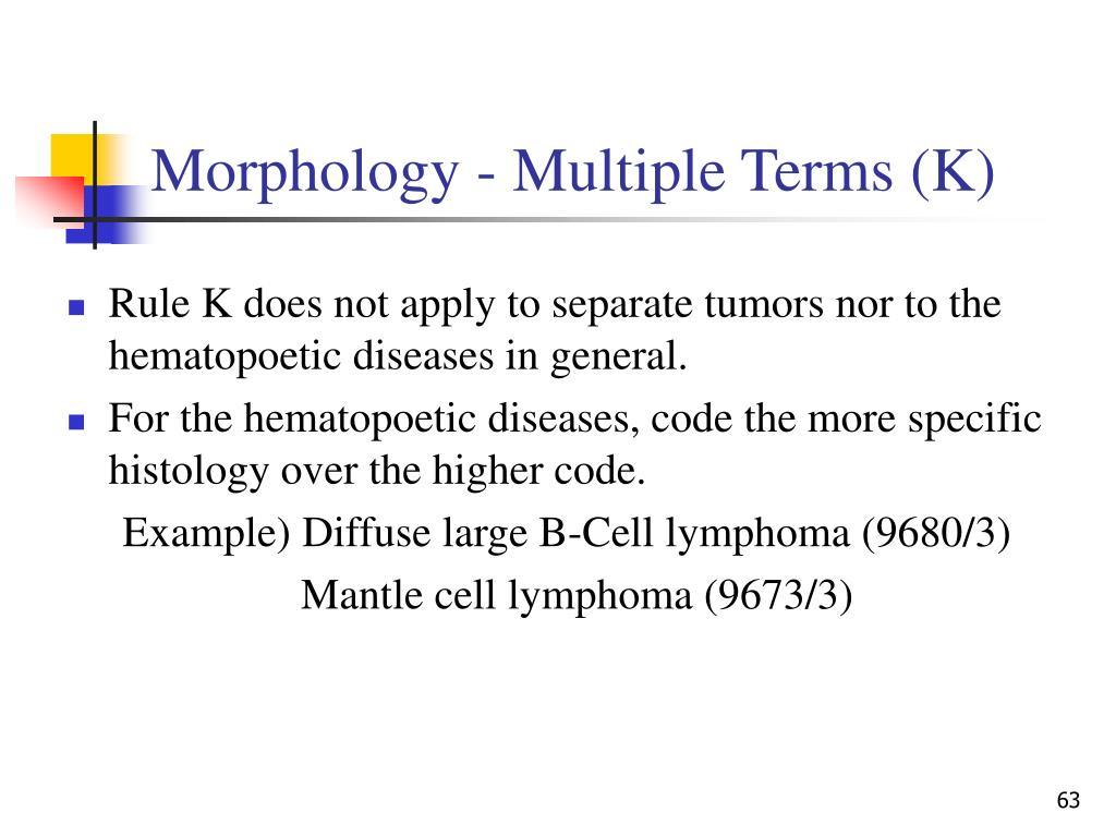 Morphology - Multiple Terms (K)