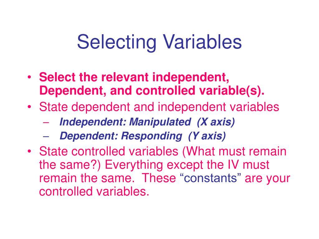 Selecting Variables