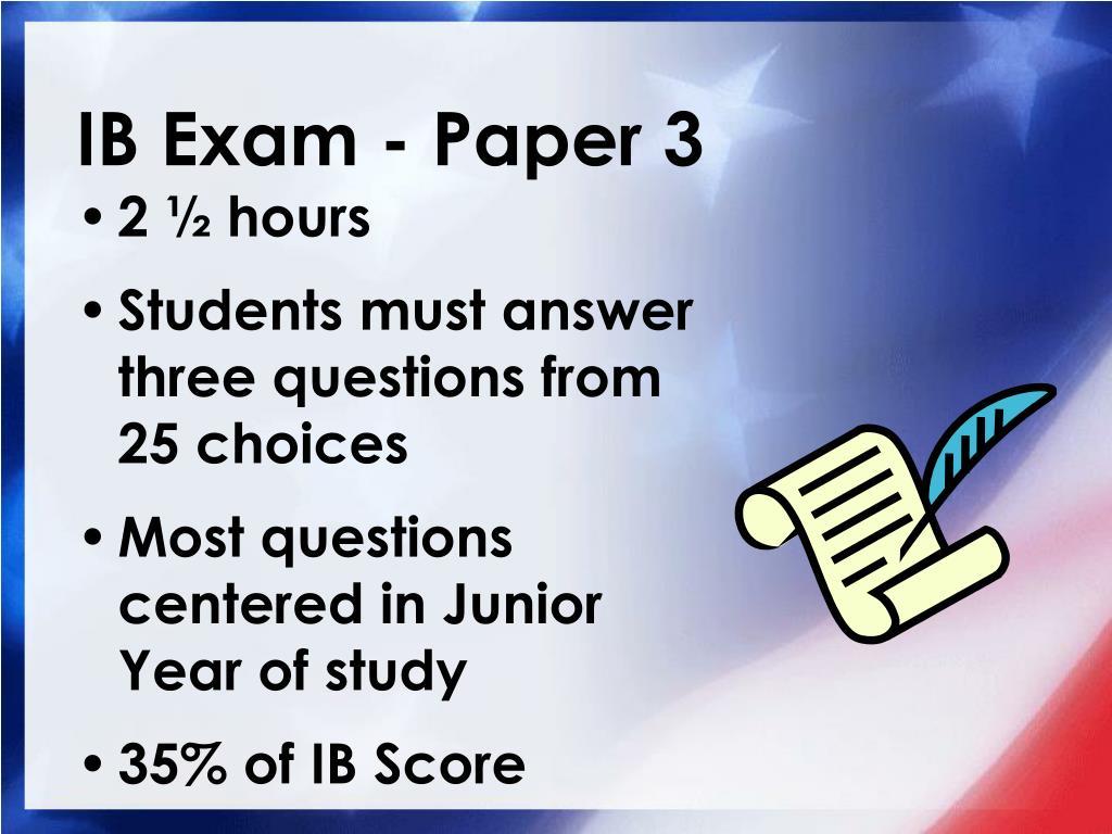 IB Exam - Paper 3