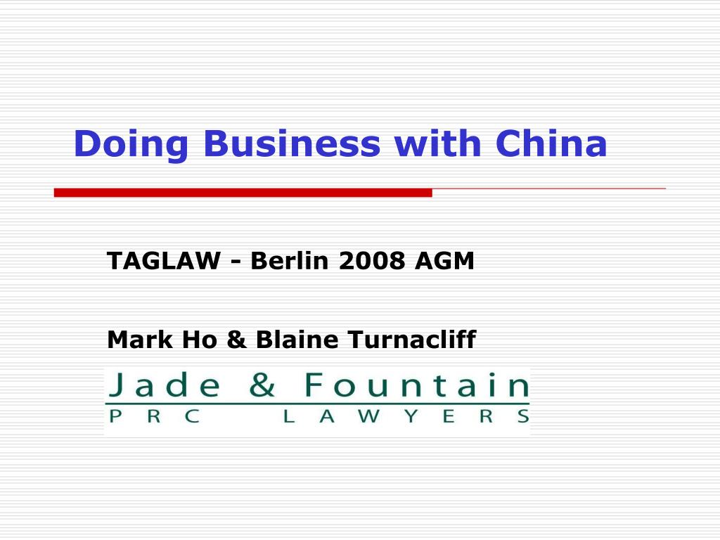 doing business with china l.