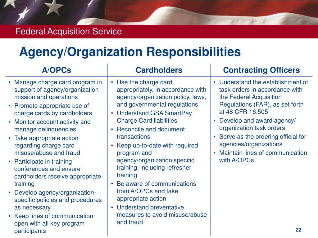 Agency/Organization Responsibilities