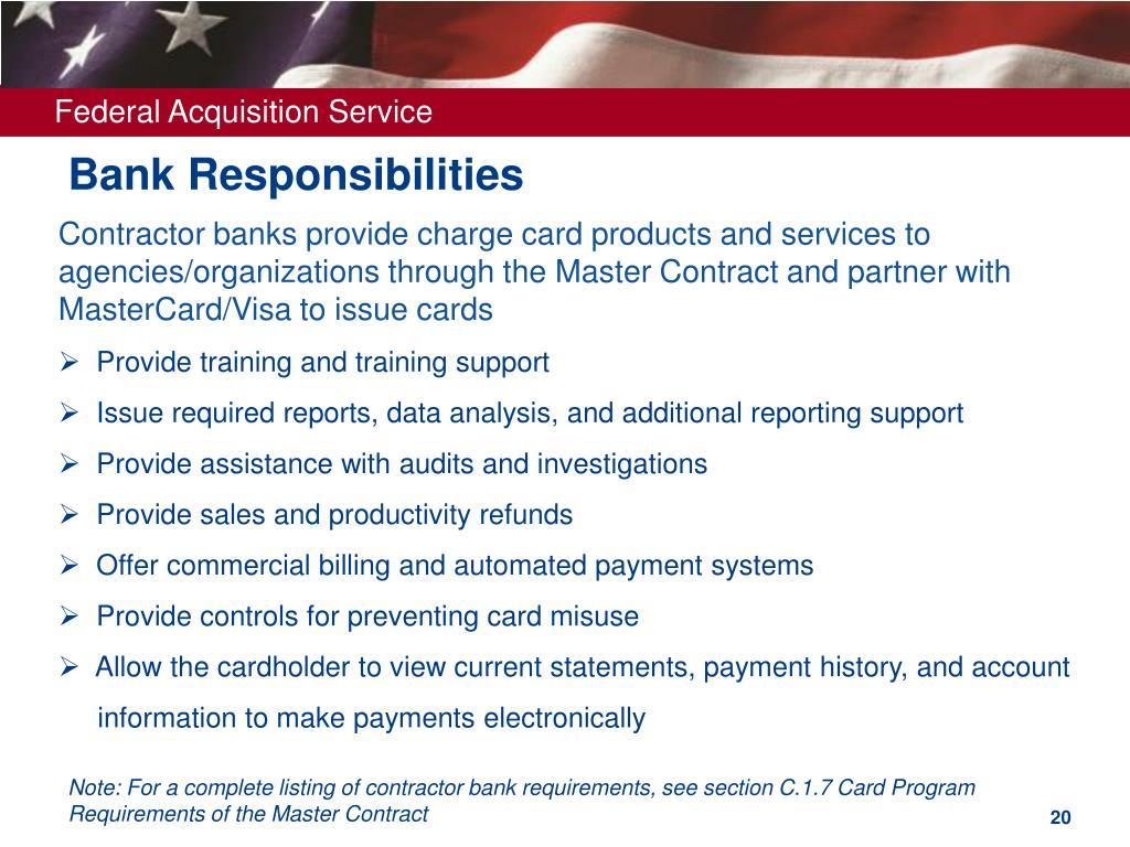 Bank Responsibilities