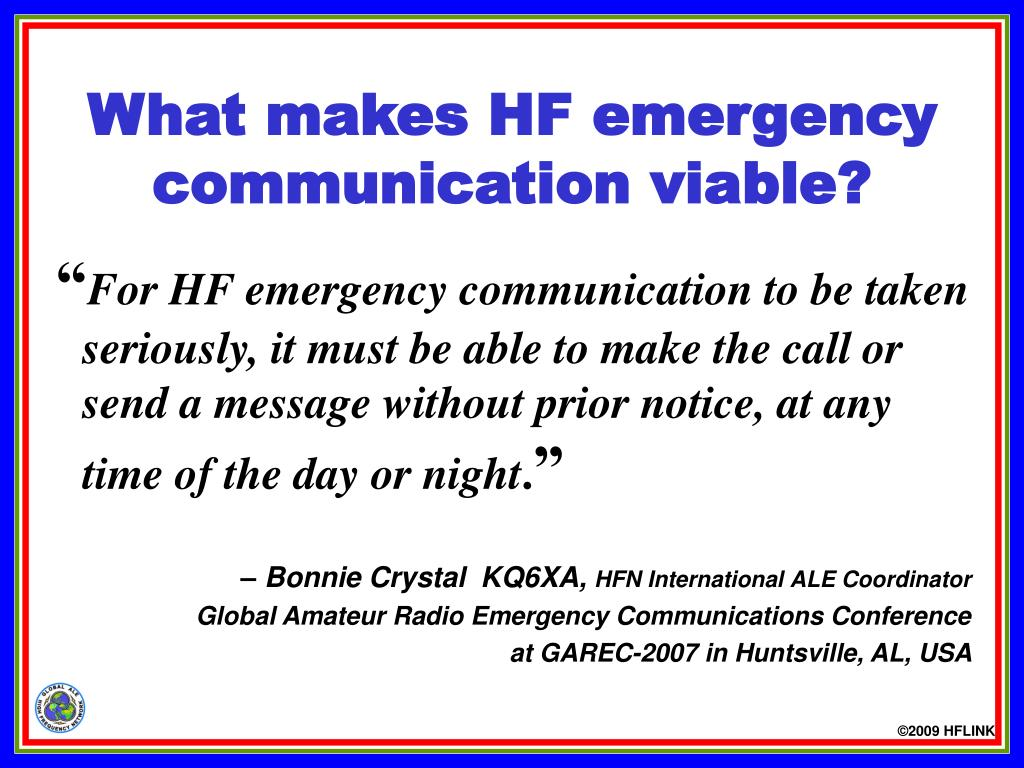 PPT - What is the Global ALE High Frequency Network? (HFN