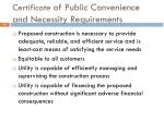certificate of public convenience and necessity requirements