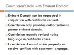 commission s role with eminent domain