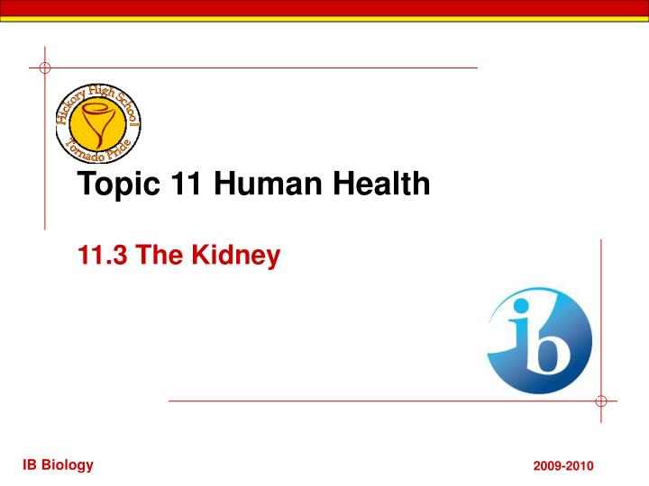 Topic 11 human health