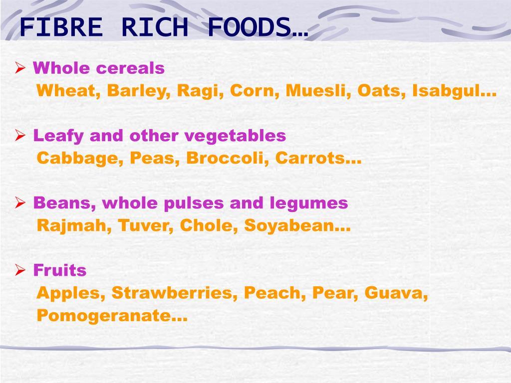 FIBRE RICH FOODS…