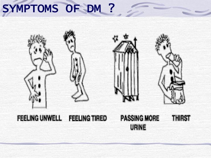 SYMPTOMS OF DM ?