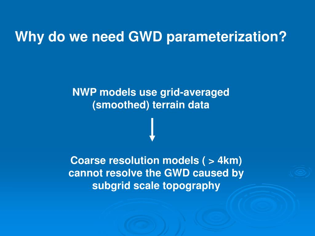 Why do we need GWD parameterization?