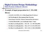 digital system design methodology finite precision arithmetic libraries20