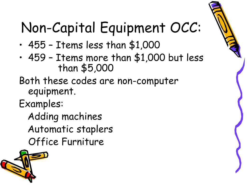 Non-Capital Equipment OCC: