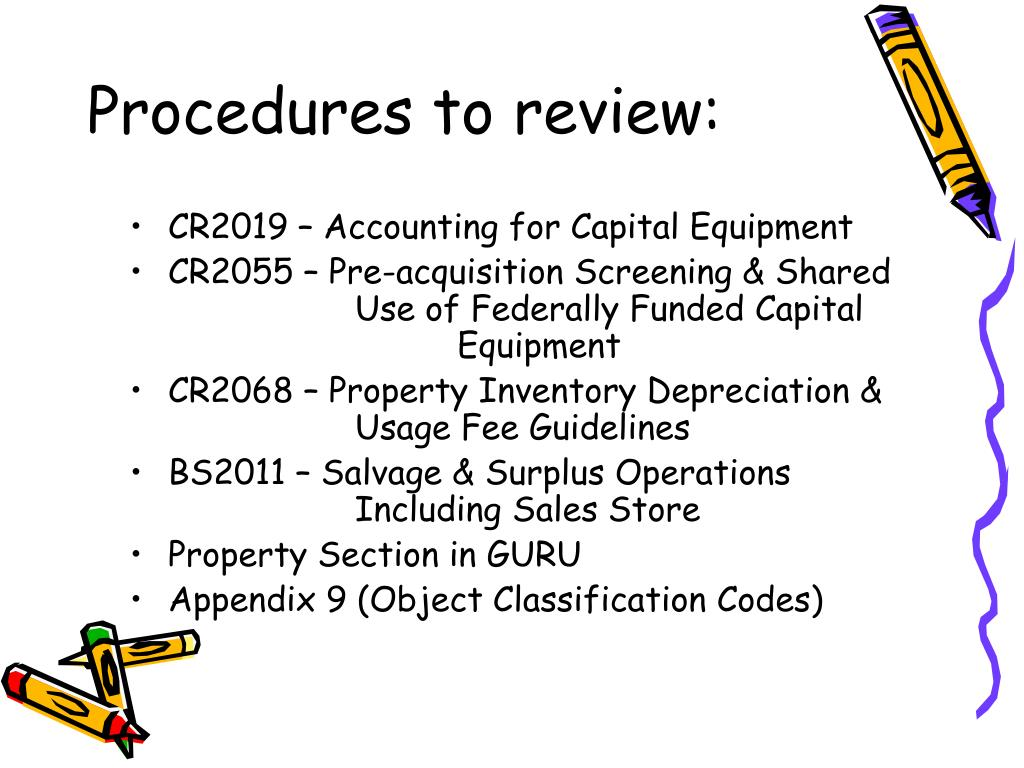 Procedures to review:
