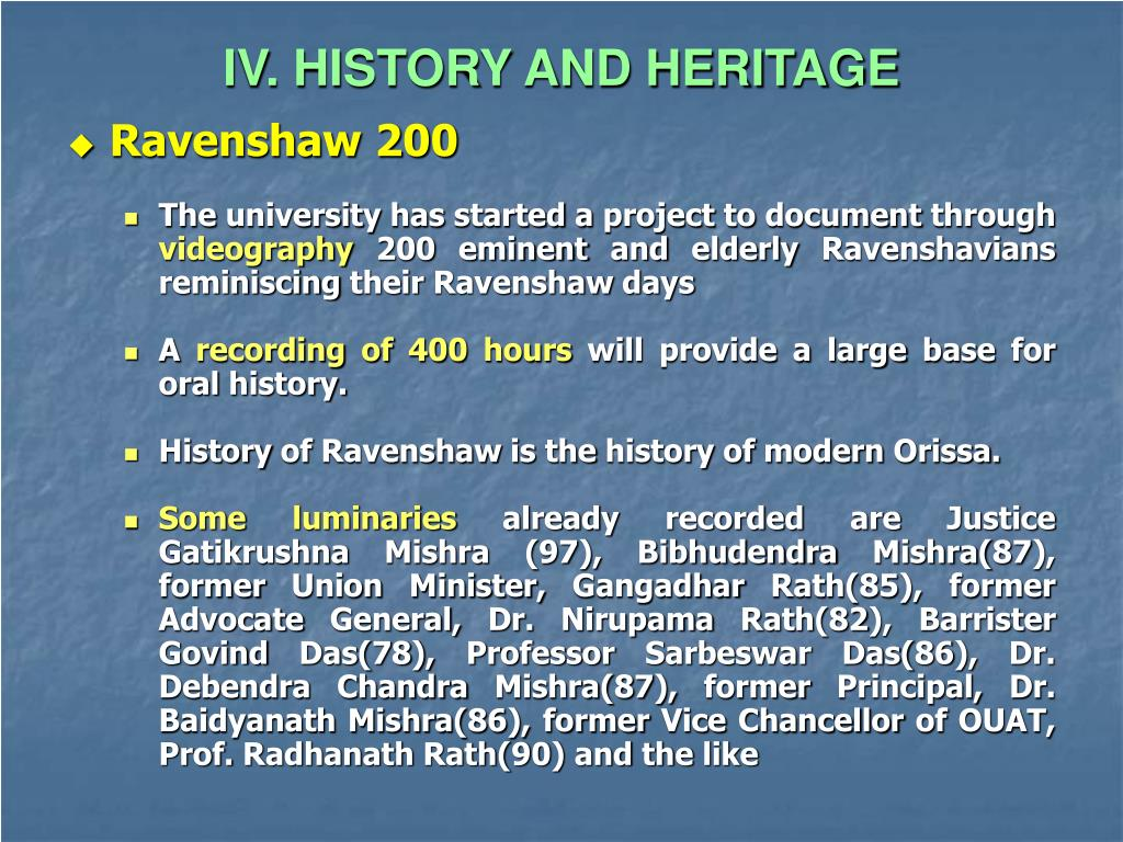 IV. HISTORY AND HERITAGE