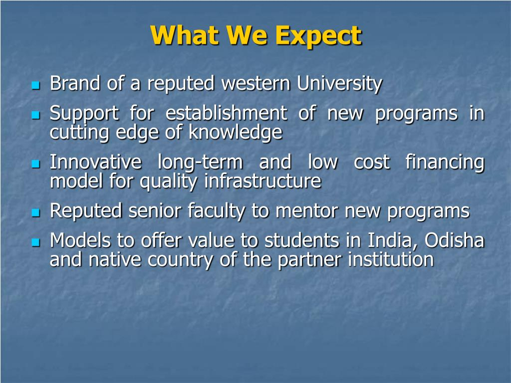 What We Expect