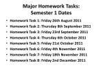 major homework tasks semester 1 dates