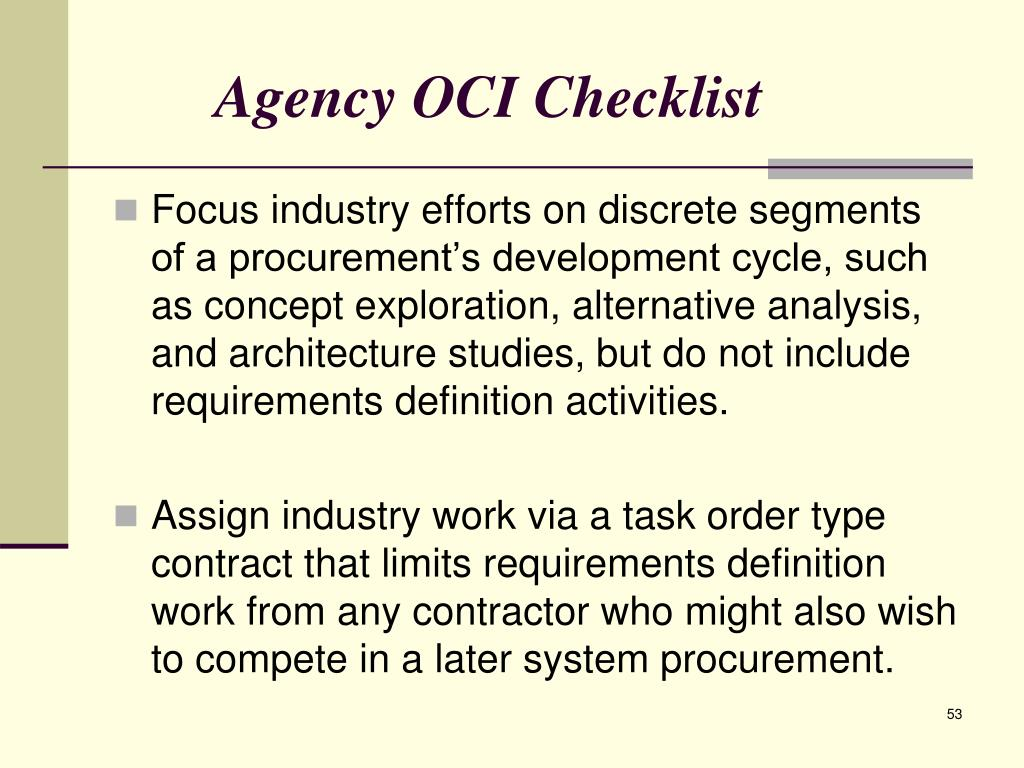 Agency OCI Checklist