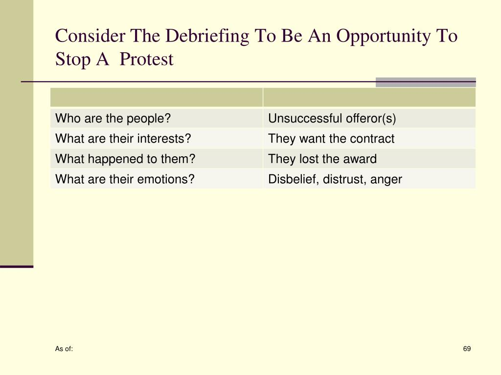 Consider The Debriefing To Be An Opportunity To Stop A  Protest