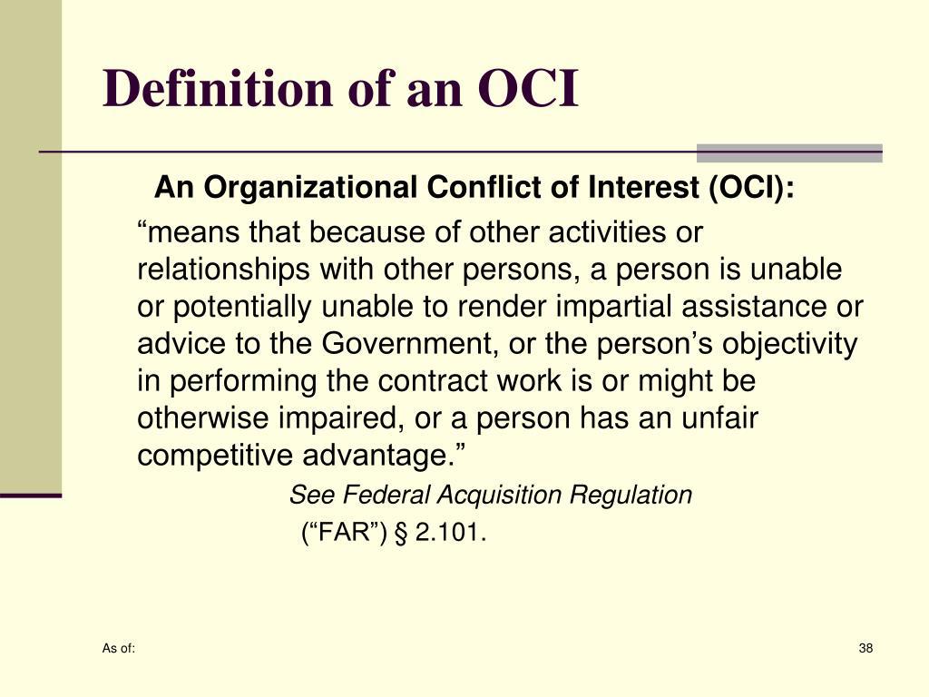 Definition of an OCI