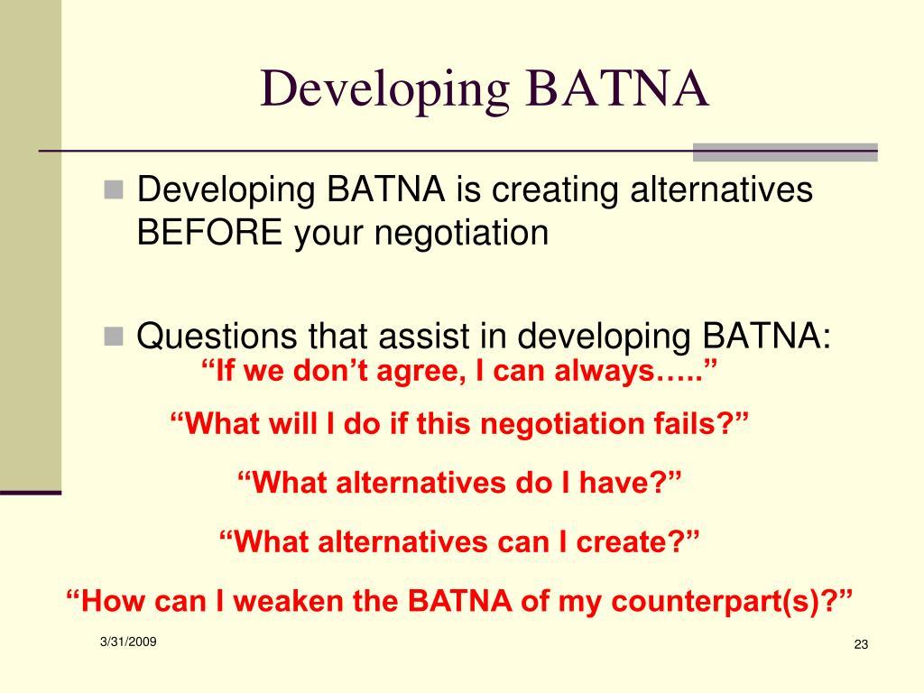 Developing BATNA