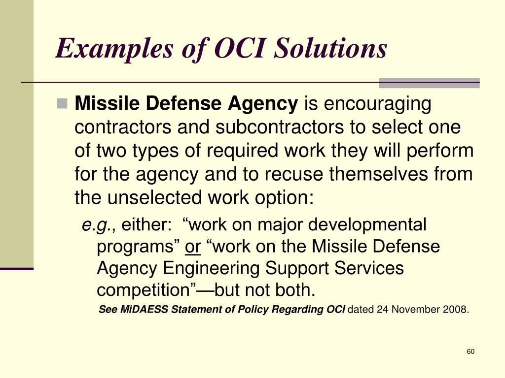 Examples of OCI Solutions