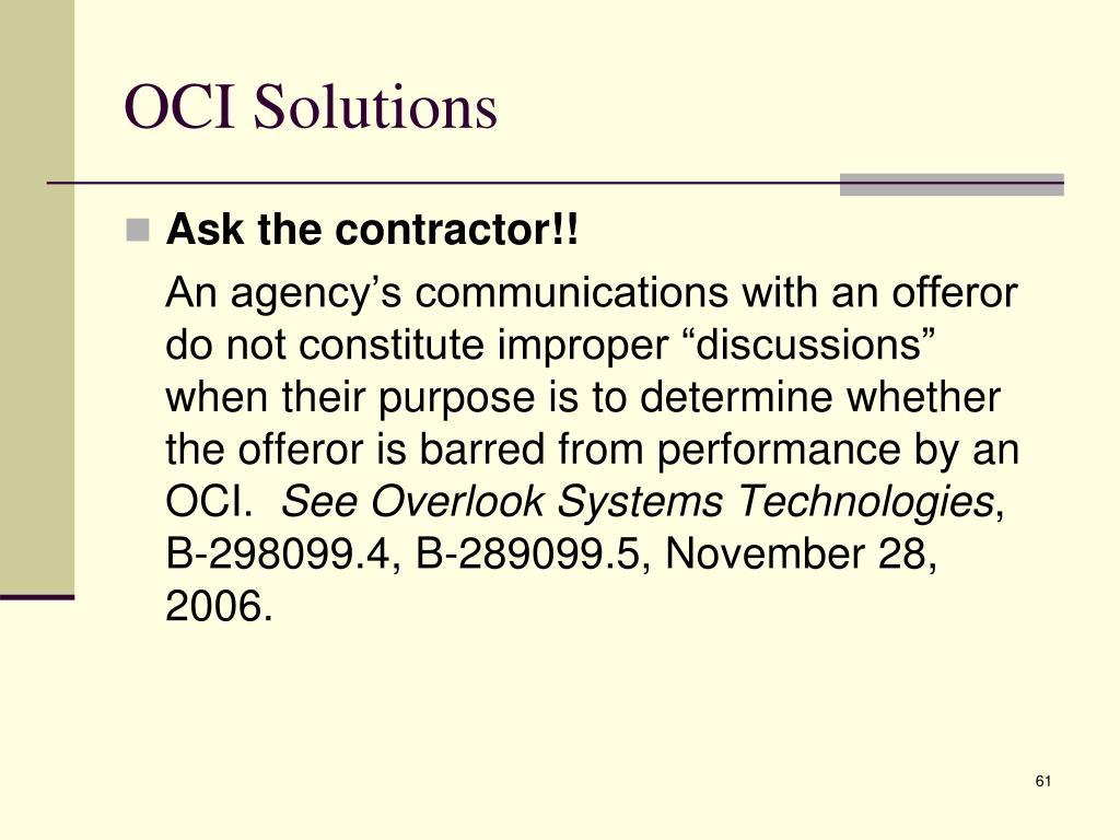 OCI Solutions