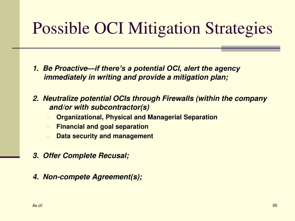 Possible OCI Mitigation Strategies