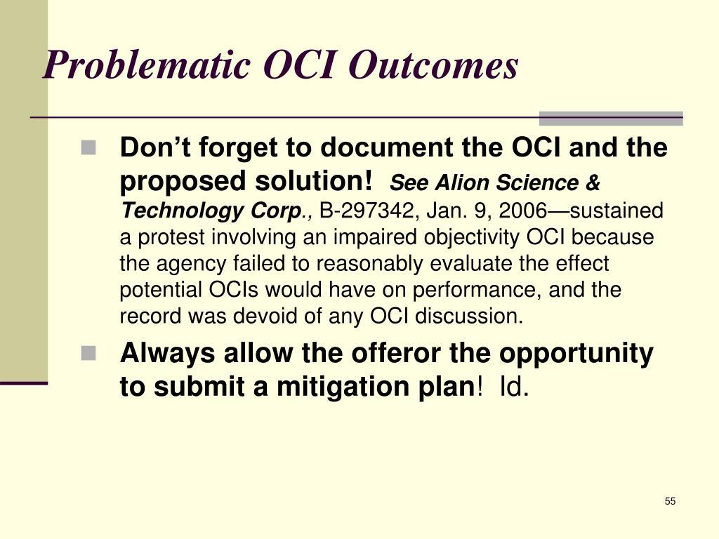 Problematic OCI Outcomes