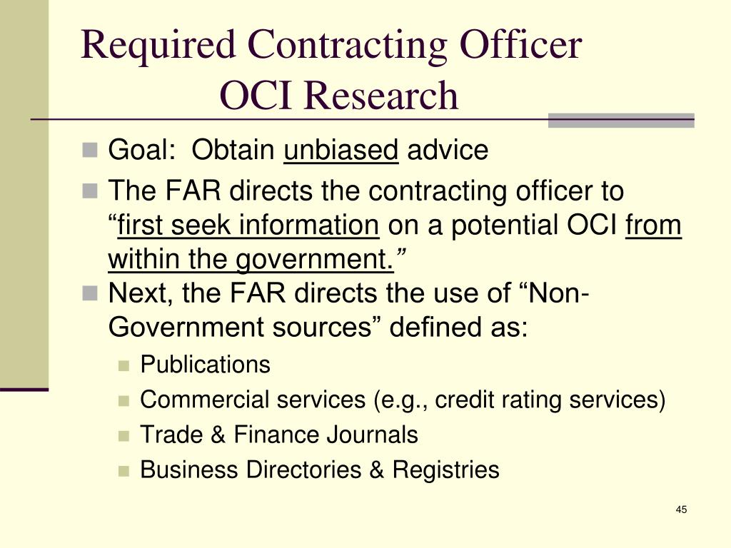 Required Contracting Officer