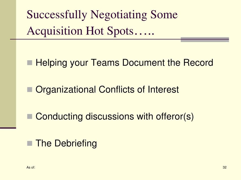 Successfully Negotiating Some Acquisition Hot Spots